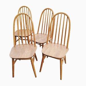 Windsor Esszimmerstühle aus Eiche von Priory, 1960er, 4er Set