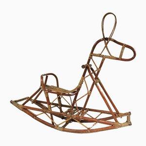 Mid-Century Cane Rocking Horse