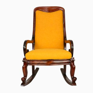 Antique Victorian Mahogany & Yellow Tweed Rocking Chair