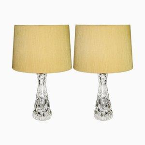 Lámparas de mesa vintage de cristal de Carl Fagerlund para Orrefors, años 70. Juego de 2