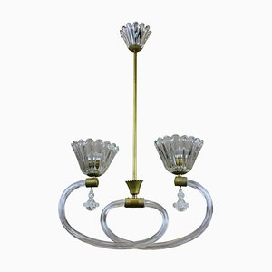 Italian Brass & Hand-Blown Glass Ceiling Lamp from Barovier & Toso, 1950s