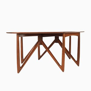 Vintage Teak Gate-Leg Elliptical Dining Table by Niels Koefoed for Koefoeds Hornslet, 1960s