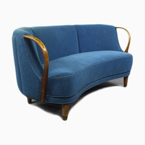 Vintage Blue Curved Sofa, 1950s