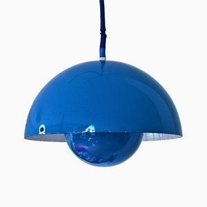 Lámpara colgante Flowerpot vintage en azul de Poul Henningsen para Louis Poulsen, años 60