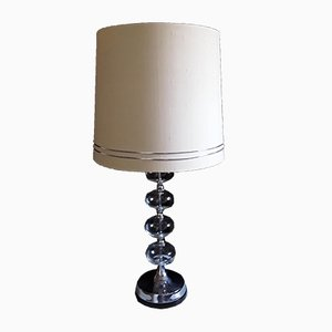 Vintage Chrome & Pressed Glass Table Lamp, 1970s