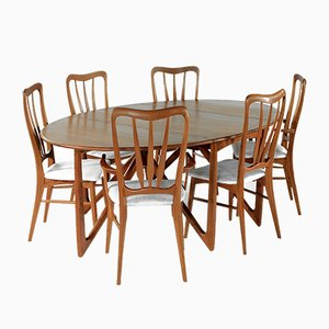 Vintage Danish Teak Dining Table & 6 Ingrid Chairs Set by Niels Koefoed for Koefoeds Hornslet, 1960s