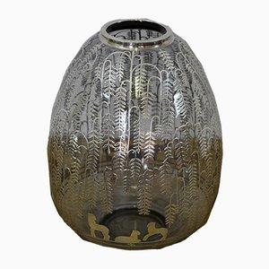 Vase en Verre avec Feuille d'Argent, Italie, 1930s