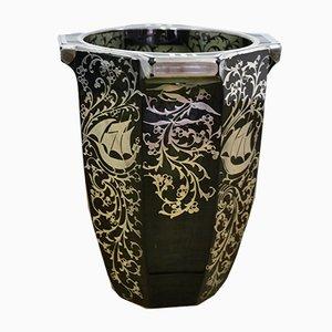 Italienische Art Déco Vase aus schwarzem Glas mit Details aus Silber, 1930er