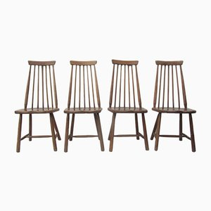 Woodfen High Spindle Back Dining Chairs from Pastoe, 1960s, Set of 4