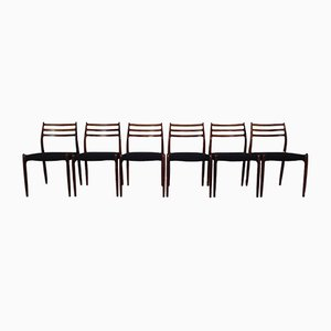 Model 78 Rosewood Dining Chairs by Niels Otto Møller for J.L. Møllers, 1960s, Set of 6