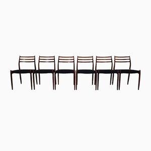 Modell 78 Esszimmerstühle aus Palisander von Niels Otto Møller für J.L. Møllers, 1960er, 6er Set