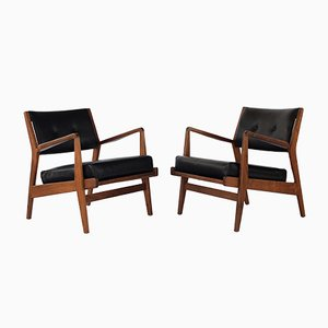 Vintage Walnut Lounge Chairs by Jens Risom, 1960s, Set of 2