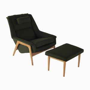 Conjunto de sillón y otomana vintage de Folke Ohlsson para Dux, años 60
