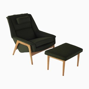 Vintage Lounge Chair & Ottoman Set by Folke Ohlsson for Dux, 1960s