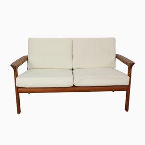 Sofá de dos plazas Borneo danés de teca de Sven Ellekaer para Komfort, años 60