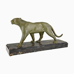 Art Deco Bronze Panther Sculpture by Alexandre Ouline, 1930s