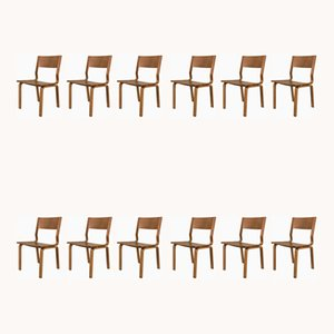 Laminated Oak Saint Catherines Desk Chairs by Arne Jacobsen for Fritz Hansen, 1960s, Set of 12