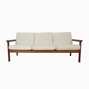 Sofá de tres plazas danés de teca de Sven Ellekaer para Komfort, años 60