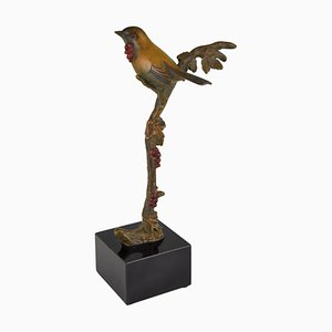Art Deco Bronze Bird on Branch Sculpture by Irenee Rochard for Irenee Rochard, 1930s