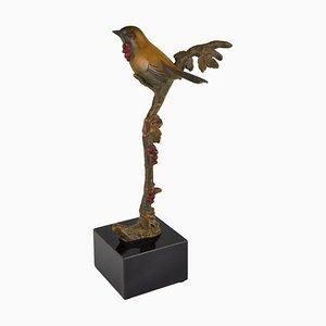 Art Déco Bronzeskulptur eines Vogels auf einem Zweig von Irenee Rochard für Irenee Rochard, 1930er