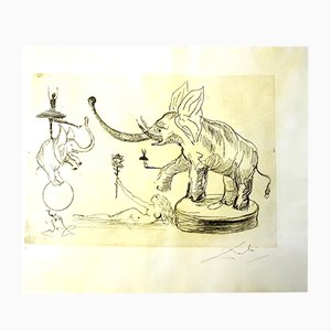 The Circus - Elephants Parchment Etching by Salvador Dali, 1965
