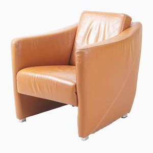 Vintage Cognac Leather Lounge Chair from Touche, 1990s