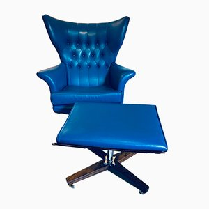 Blue Vinyl Swivel Lounge Chair & Ottoman Set by Paul Conti for G-Plan, 1960s
