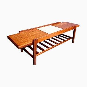 Mesa de centro extensible vintage de teca y baldosa de Remploy, años 60