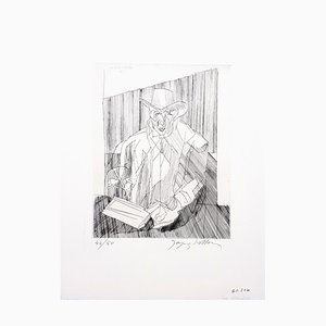 Gravure à l'Eau-Forte Homme par Jacques Villon, 1951