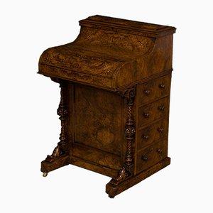 Antiker viktorianischer Davenport Schreibtisch aus Nusswurzelholz
