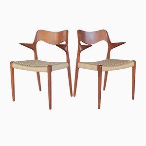 Chaises de Salle à Manger Modèle 55 Mid-Century en Teck et Corde en Papier par Niels Otto Møller, Danemark, 1960s, Set de 2