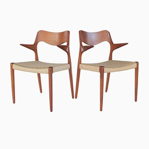 Mid-Century Danish Teak & Paper Cord Model 55 Dining Chairs by Niels Otto Møller, 1960s, Set of 2