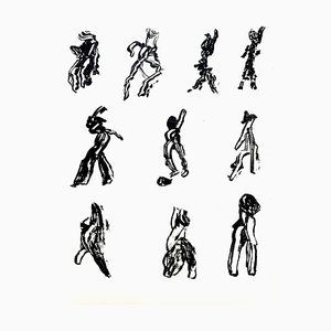 People Lithograph by Henri Michaux, 1952