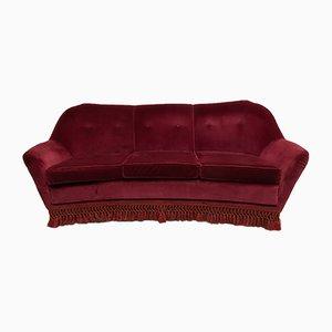 Mid-century Italian Velvet Curved Sofa by Gio Ponti for Casa e Giardino, 1950s