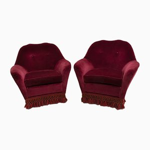 Mid-century Italian Velvet Lounge Chairs by Gio Ponti for Casa e Giardino, 1950s, Set of 2