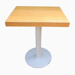 Metal and Oak Pedestal Table, 1980s