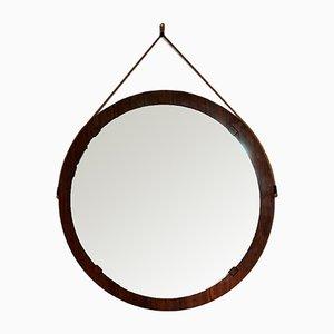 Großer italienischer Mid-Century Spiegel mit Rahmen aus Palisander, 1950er