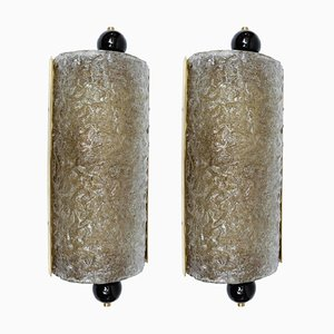 Apliques vintage de cristal de Murano, años 80. Juego de 2