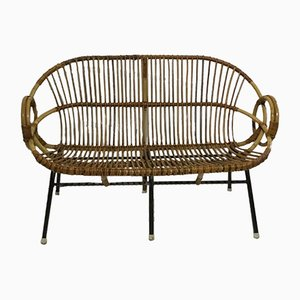 Small Vintage Rattan Bench from Rohé Noordwolde, 1960s