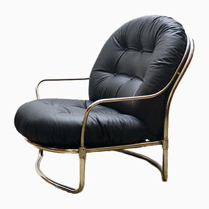 Black Leather Lounge Chair by Carlo de Carli for Cinova, 1960s