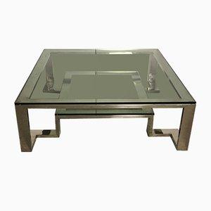 Mesa de centro vintage de aluminio y vidrio cromado