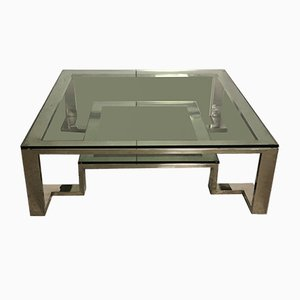 Vintage Chromed Aluminum & Glass Coffee Table