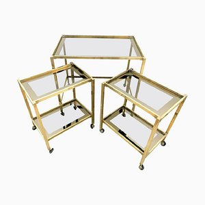 Brass Nesting Table Set, 1950s