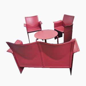 Korium Leather Living Room Set by Tito Agnoli for Matteo Grassi, 1970s