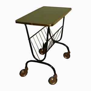Mid-Century Brass Side Table with Magazine Rack