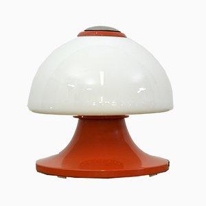 Lámpara de mesa italiana grande de vidrio y metal, años 70