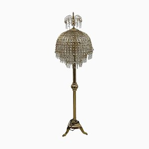 Golden Brass & Crystal Floor Lamp, 1960s
