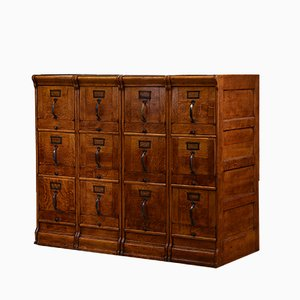 Antique Oak Filing Cabinets from Globe Wernicke, Set of 4