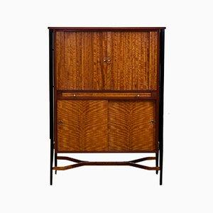 Mid-Century Satinwood & Ebonised Wood Tambour Drinks Cabinet, 1950s
