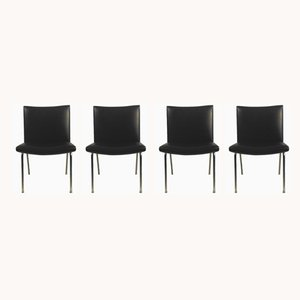 Black Airport Lounge Chairs by Hans J. Wegner, 1960s, Set of 4